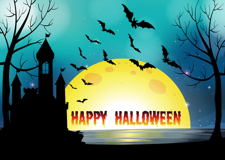 haunting: Poster of Happy Halloween illustration