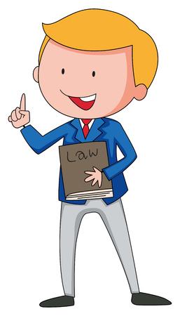 El abogado sostiene una ilustración de libros