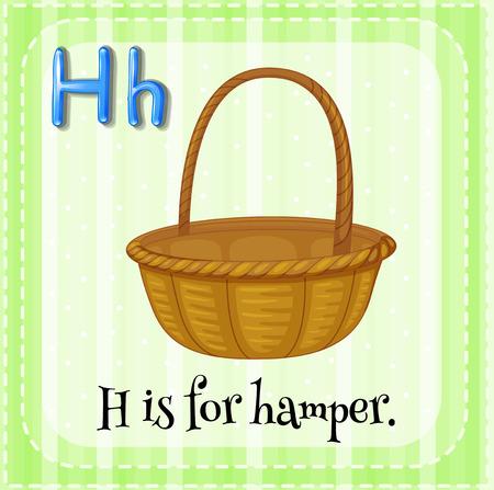 hamper: Flashcard letter H is for hamper illustration