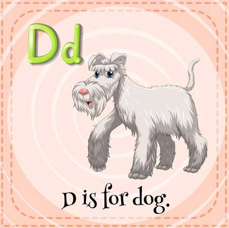 letter alphabet pictures: Flashcard letter D is for dog illustration