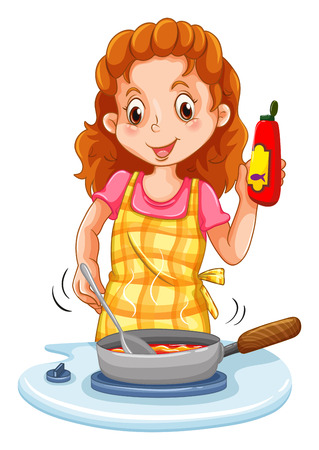 stiring: Woman cooking with a pan illustration Illustration