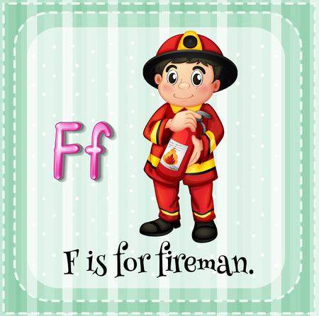 fireman: Flashcard letter F is for fireman illustration