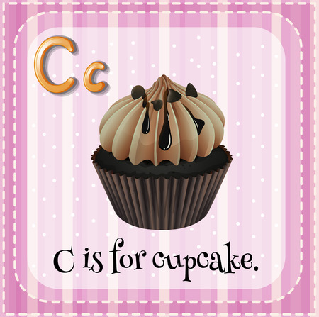 cupcake illustration: Flashcard letter C is for cupcake illustration Illustration