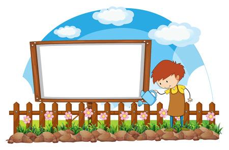 gardening: Man watering flowers in the garden illustration