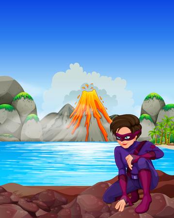 volcano mountain erupting: Superhero at the lake illustration