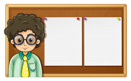 wooden board: Teacher standing in front of board illustration Illustration