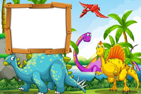 湖のイラストで恐竜