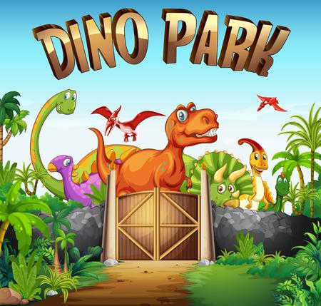 Park full of dinosaurs illustration Vectores