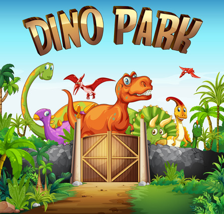 dinosaurio caricatura: Parque lleno de dinosaurios ilustración Vectores