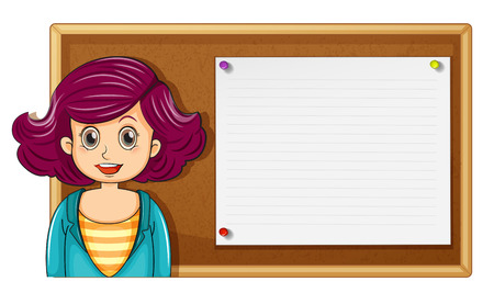 posted: Female teacher and wooden board illustration