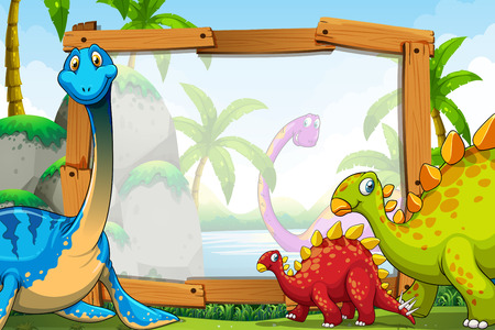 Dinosaurs around the wooden frame illustration