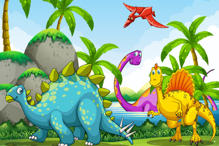animals in the wild: Dinosaurs living in the jungle illustration
