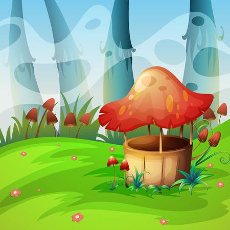 grass land: Mushroom will in the field illustration Illustration
