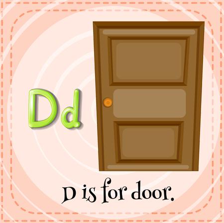 letter alphabet pictures: Flashcard letter D is for door illustration
