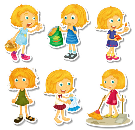 snack: Blond girl doing different activities illustration