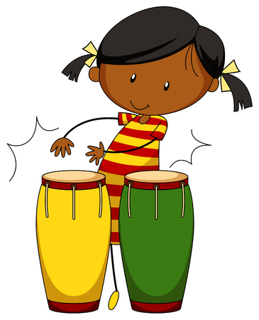 playing: Little girl playing drums illustration Illustration