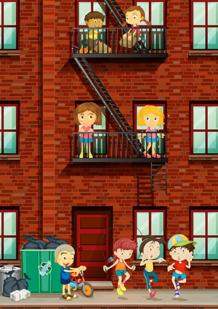 apartment living: People living at the apartment illustration
