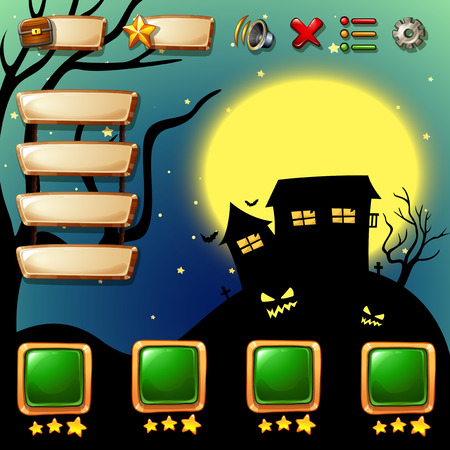 religious backgrounds: Game template with halloween background illustration