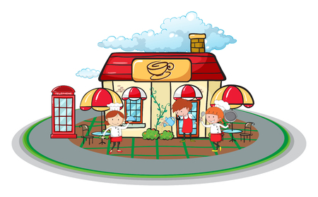 telephone booth: Waiter and waitress in front of cafe illustration