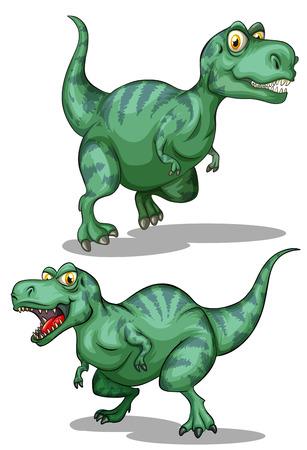 dinosaurio: Dinosaurios verdes en blanco ilustración Vectores