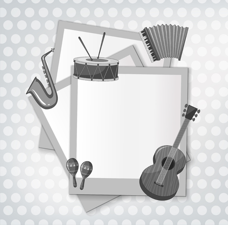 notecard: Notecard with music instrument in black and white illustration Illustration