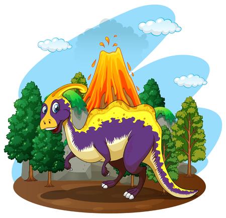 dinosauro: Dinosauro e vulcano eruzione illustrazione