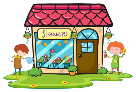 Bloemenwinkel met twee tuinmannen werken illustratie Stock Illustratie