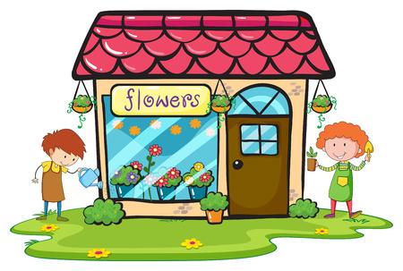 flor caricatura: Florería con dos jardineros ilustración de trabajo Vectores