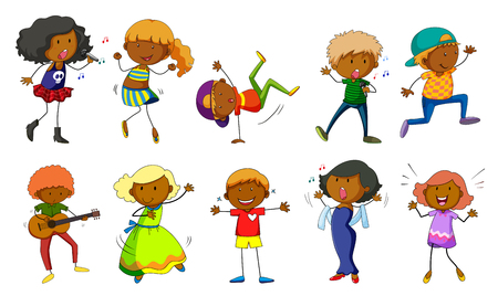 cartoon singing: Set of kids singing and dancing illustration