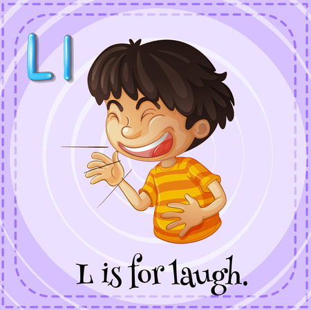 reir: Flashcard letter L is for laugh illustration