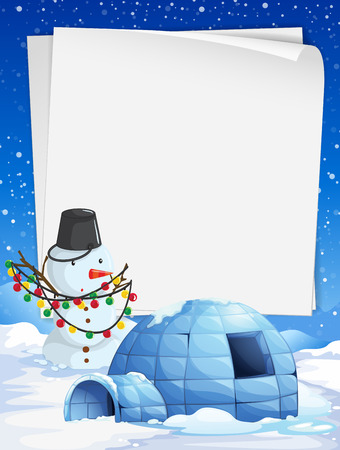 Blank paper with Christmas theme background illustration Illustration