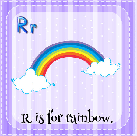 letter alphabet pictures: Flashcard letter R is for rainbow illustration Illustration