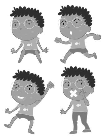 shut up: Little boy doing different acts illustration