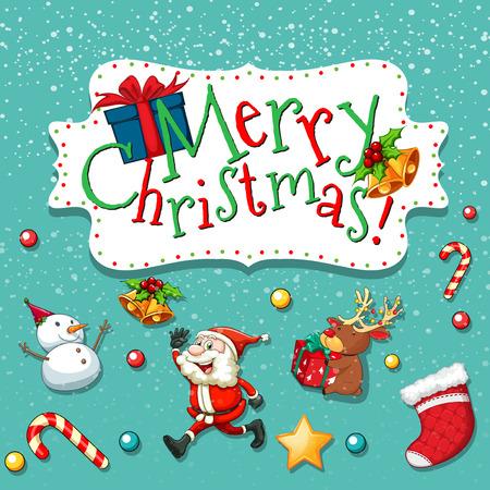 bonhomme de neige: Thème de Noël avec le Père Noël et bonhomme de neige illustration