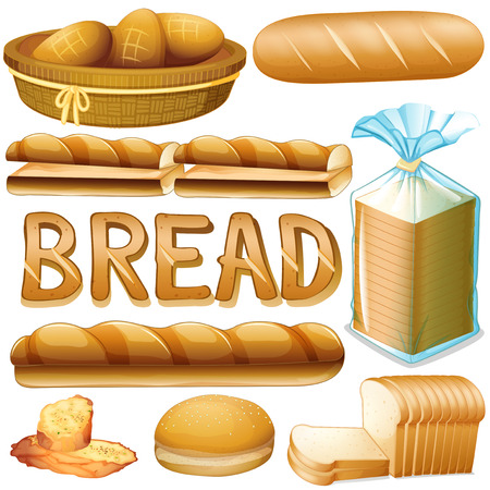 loaf of bread: Bread in various kinds illustration