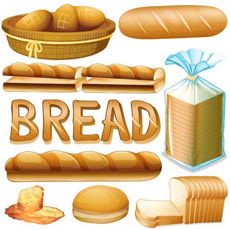 Brot in verschiedenen Arten illustration Standard-Bild - 45533389