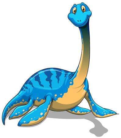 sentarse: Lindo cuello largo dinosaurio azul sobre fondo blanco ilustración