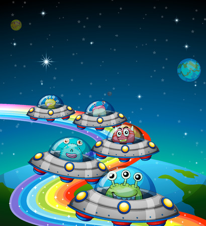 creature: Aliens flying in the UFO illustration Illustration