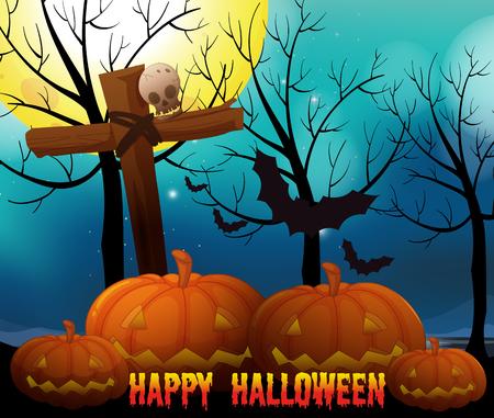 religious backgrounds: Happy halloween on fullmoon night illustration