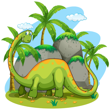 long neck: Dinosaur with long neck illustration Illustration