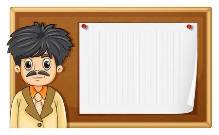 notice board: Male teacher standing in front of board illustration