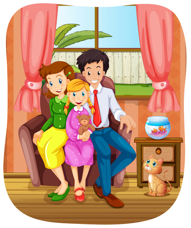 family picture: Family group photo sitting on sofa illustration