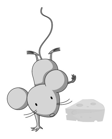 little one: Little mouse doing one handstand illustration