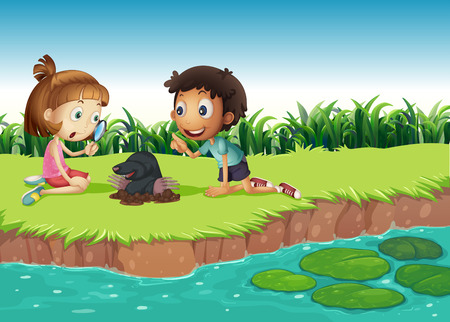 student life: Boy and girl having fun in the park illustration Illustration