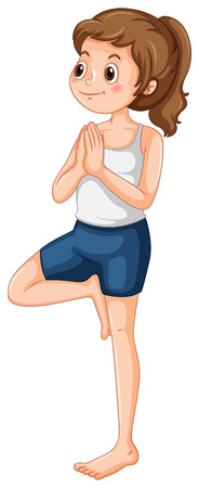 women working out: Woman with ponytail doing yoga illustration Illustration