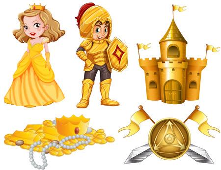 Fairytales mit Ritter und Prinzessin Illustration gesetzt Standard-Bild - 45533231