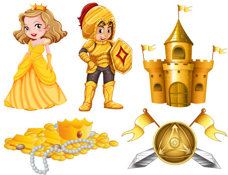 fairy castle: Fairytales set with knight and princess illustration Illustration