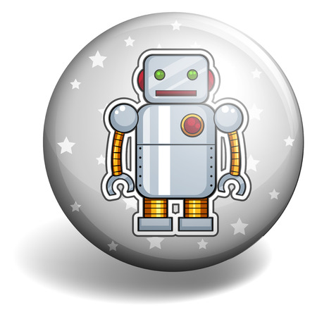 metal drawing: Tin robot on round badge illustration