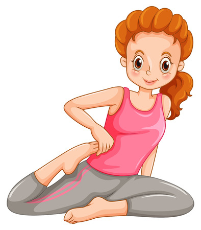 women working out: Woman doing yoga alone illustration