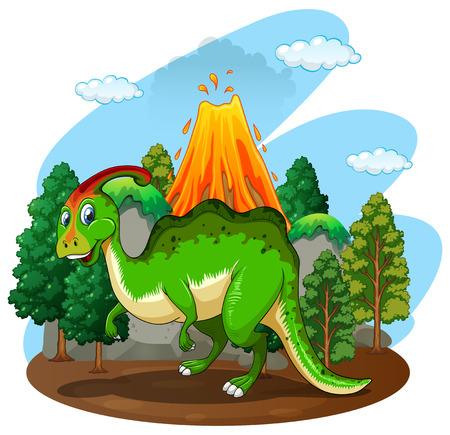 wild living: Green dinosaur in the forest illustration